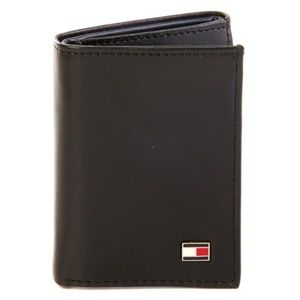 Tommy Hilfiger Black Leather Trifold Men's Wallet